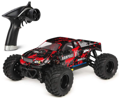 This is an image of kid's All Terrain RC Car 36KM/H High Speed in black and red colors