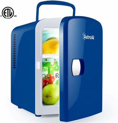 This is an image of a blue mini fridge for men.
