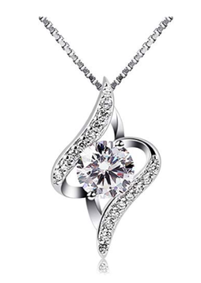 This is an image of a sterling silver necklace with cubic zirconia stone pendant.