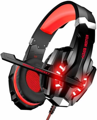 This is an image of a red gaming headset for men.