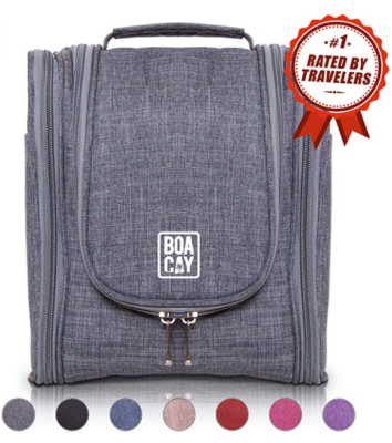 This is an image of a grey travel toiletry bag for teenage boys.