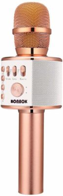 This is an image of a 3 in 1 rose gold karaoke mic with speaker.