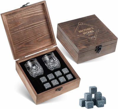 This is an image of a 2 crystal shot glasses and 8 granite rocks in a wooden box designed for men by BROTEC.