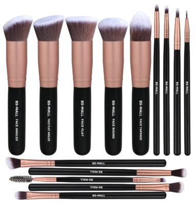 This is an image of a rose gold brush set for women.