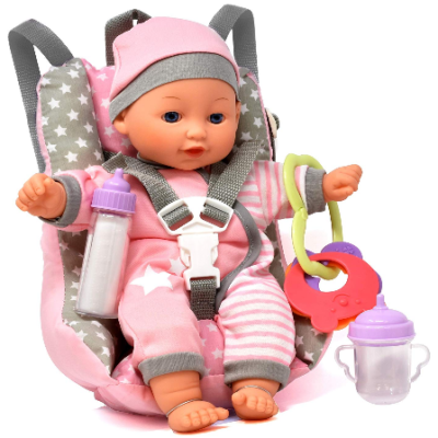 This is an image of kid's Baby Doll Car Seat with Toy Accessories in pink color