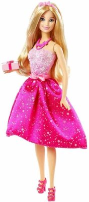 This is an image of a barbie wearing a glittery pink dress.