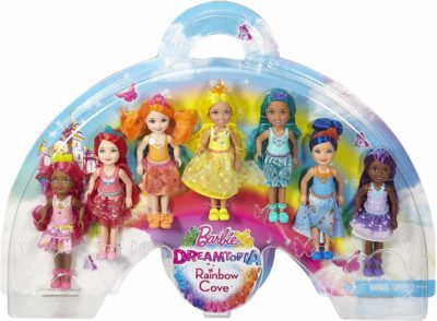 This is an image of a rainbow colored Chelsea barbie dolls.