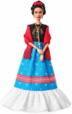This is an image of a Frida Kahlo Barbie doll.