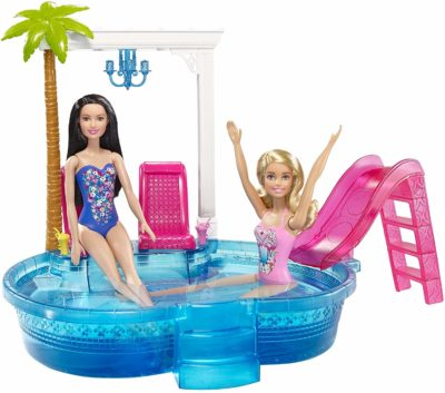 This is an image of a glam pool playset with barbie dolls.