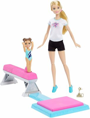 This is an image of a gymnast barbie dolls playset.