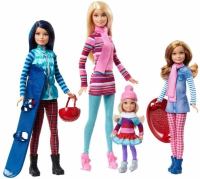 This is an image of a Barbie dolls wearing winter clothes.