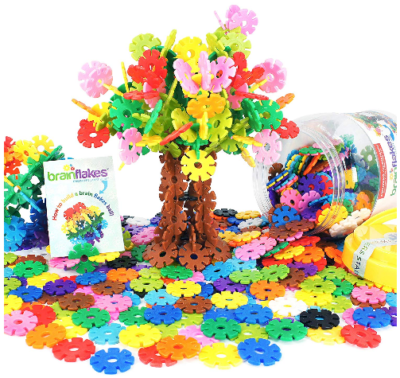 This is an image of kid's Brain Flakes 500 Piece Interlocking Plastic Disc Set