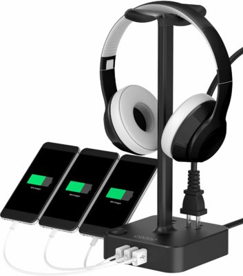 This is an image of a black headphone stand with 3 USB charger ports by Cozoo.