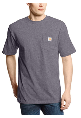 This is an image of a man wearing a carbon heather t-shirt with pocket by Carhatt.