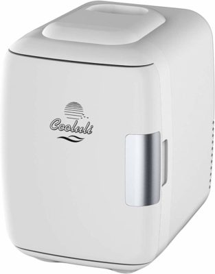 This is an image of a white mini cooler and warmer by Cooluli.