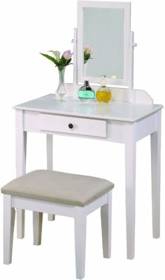 This is an image of a white vanity mirror table set with biege seat for women.