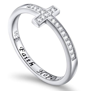 This is an image of a sterling silver inspirational cross ring for teens.