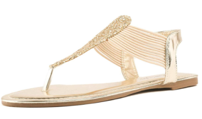 This is an image of an elastic strappy gold sandals for teenage girls.