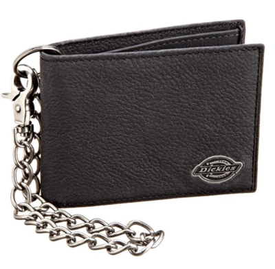 This is an image of a black wallet with chain designed for teenage boys.