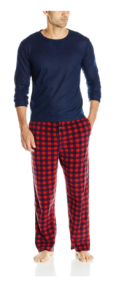 This is an image of a men's navy blue long sleeves and red pajama.