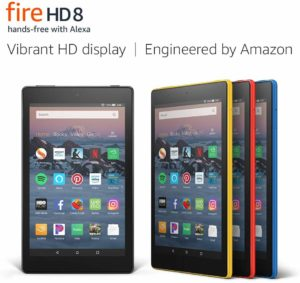 This is an image of a black Fire 8 Tablet with HD Display.