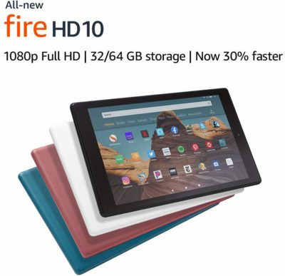 This is an image of a new release Fire HD 10 tablet that comes with different color choices.