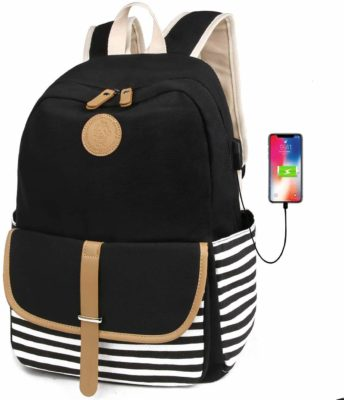 This is an image of a black backpack with USB Port for teens.