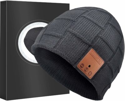 This is an image of a dark gray beanie headphones for teens.