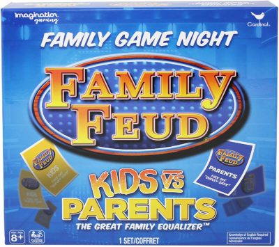 This is an image of a family feud board game in parents vs kids edition.