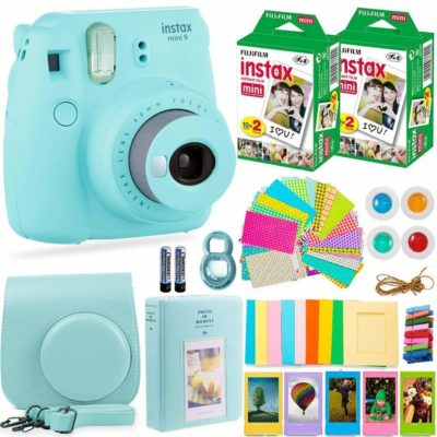 This is an image of a mint green instant camera bundled with accessories.