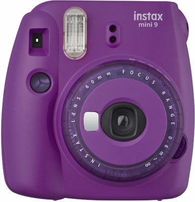 This is an image of a mini instant purple camera by Fujifilm.