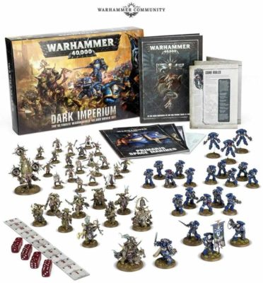 This is an image of a Warhammer 4000 board game for 12 years old kids.
