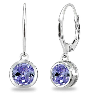 This is an image of a tanzanite and silver earrings for teens.