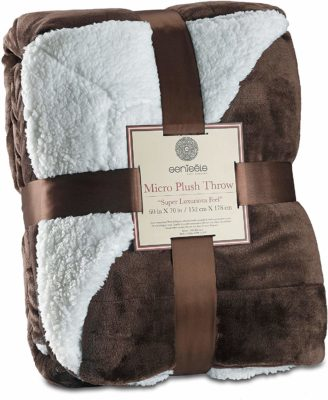 This is an image of a brown plush throw blanket for men by Genteele .