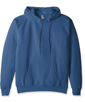 This is an image of a denim blue pullover sweatshirt for men by Hanes.
