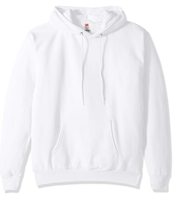 This is an image of a white hoodie for men by hanes.