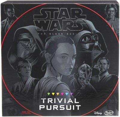 This is an image of a trivial pursuit game in Star Wars edition by Hasbro Gaming.