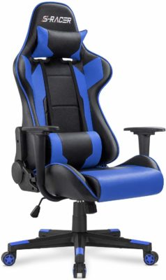 This is an image of a blue gaming chair for men.
