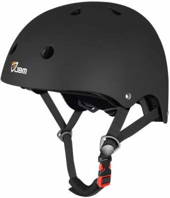 This is an image of a black skateboard helmet for teenage boys.