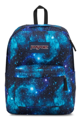 This is an image of a JanSport backpack in galaxy print designed for teenage boys.
