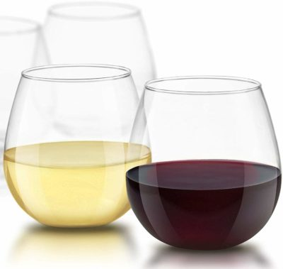 This is an image of a 4 piece stemless wine glass for men by JoyJolt.