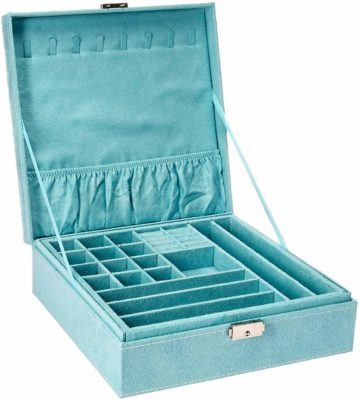 This is an image of a blue storage case for women.