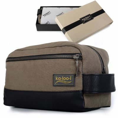 This is an image of a olive green toiletry leather bag for men by Ka loo i.