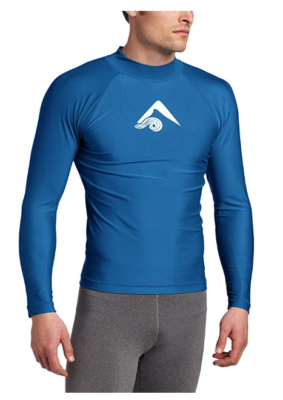 This is an image of a man wearing a royal blue rashguard.