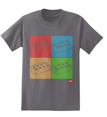 This is an image of a grey t-shirt with LEGO blocks print designed for men.