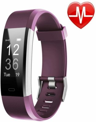 This is an image of a purple activity tracker watch for women.