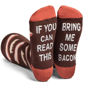 This is an image of a brown socks with funny texts designed for men and women by Lavley.