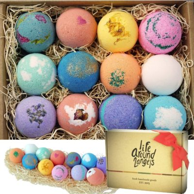 This is an image of a 12 piece bath bombs gift set for women.