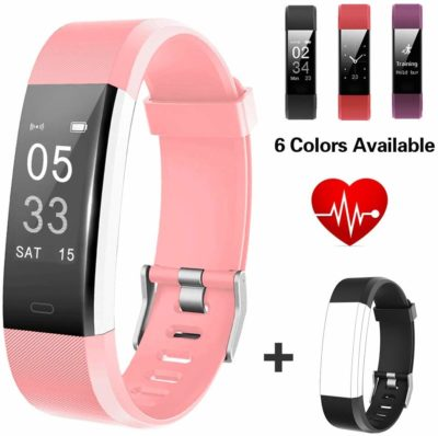 This is an image of a hot pink fitness tracker watch for women.