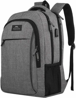 This is an image of a grey travel laptop backpack.
